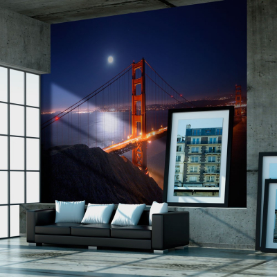 Fototapet - Golden Gate Bridge at night0