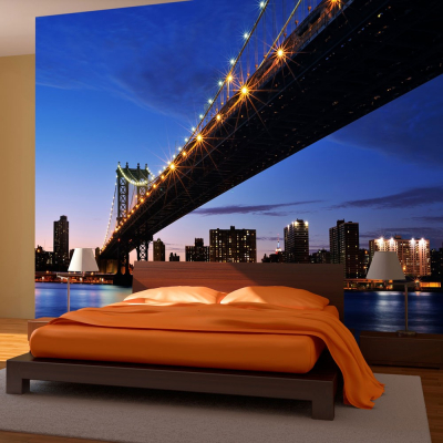 Fototapet - Manhattan Bridge illuminated at night0