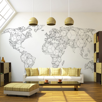 Fototapet - Map of the World - white solids [0]