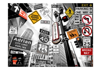 Fototapet - NYC signs on a monochrome background [3]