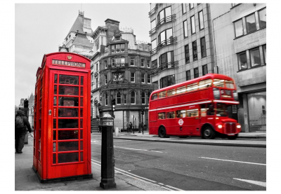 Fototapet - Red bus and phone box in London3