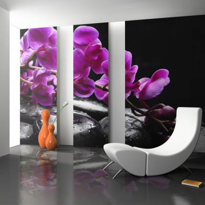Fototapet - Relaxing moment: orchid flower and stones0