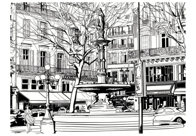 Fototapet - Sketch of parisian fountain3