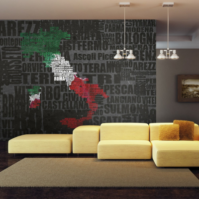 Fototapet - Text map of Italy0