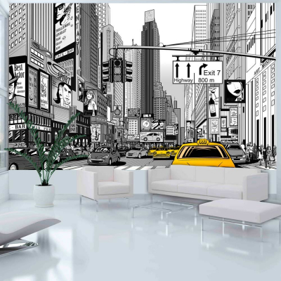 Fototapet - Yellow cabs in NYC0
