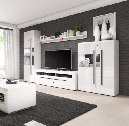 Set mobilier living MDF alb lucios Frazier, 4 piese [0]