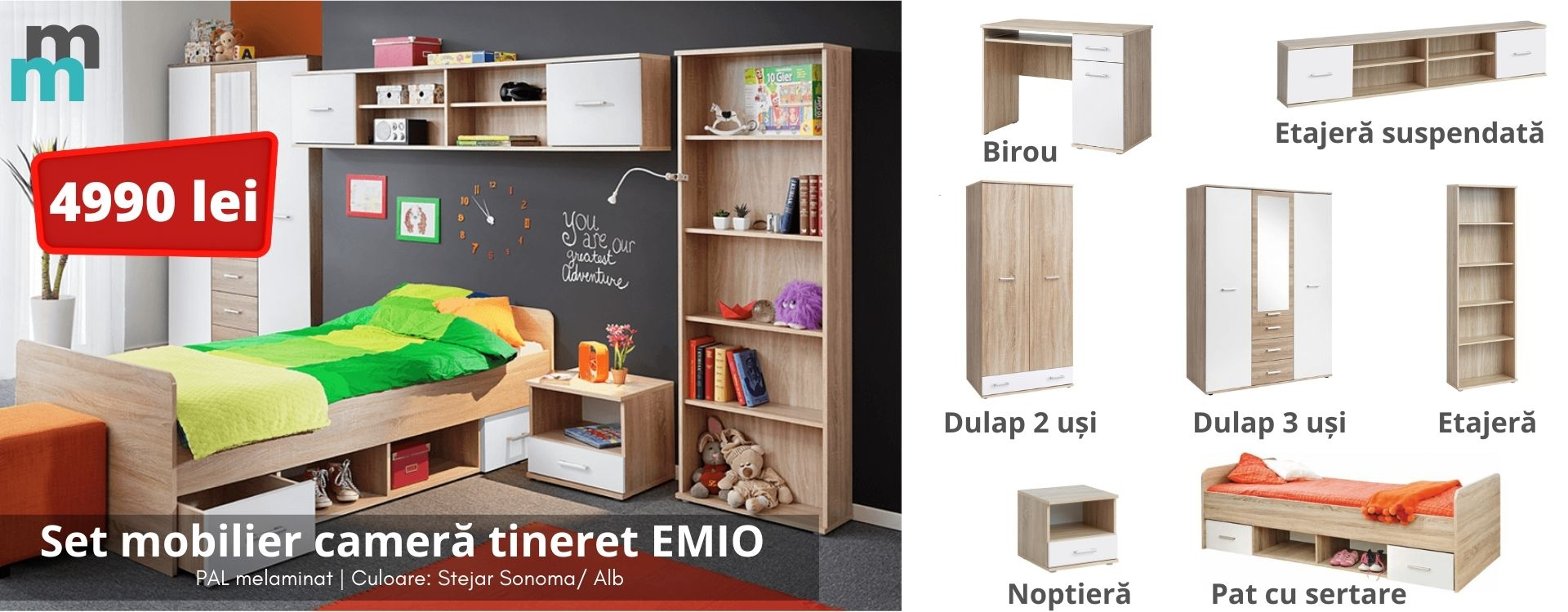 Set mobilier camera tineret EMIO