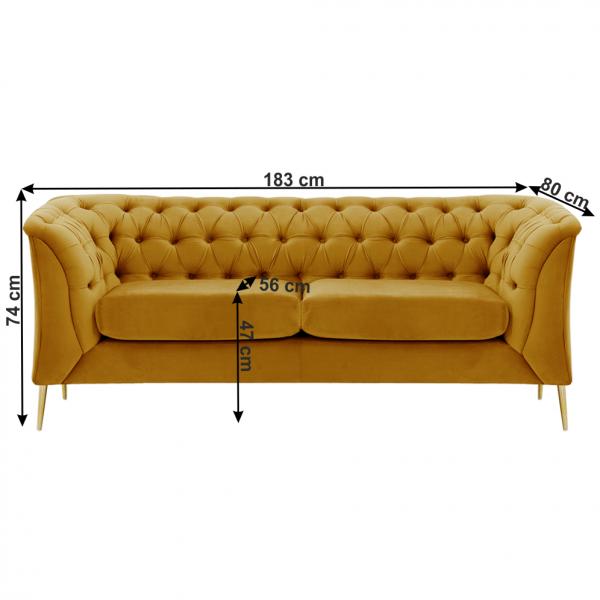 Canapea cu 2 locuri de lux tapiterie auriu NIKOL 2 ML 3
