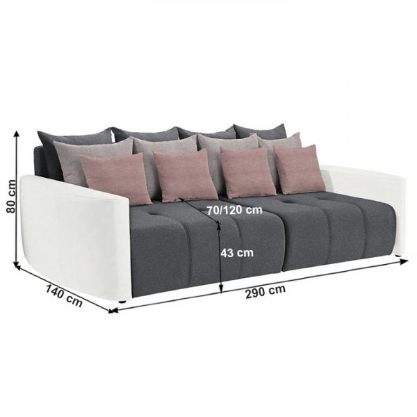 Canapea extensibila alb/gri/roz PORTO 1