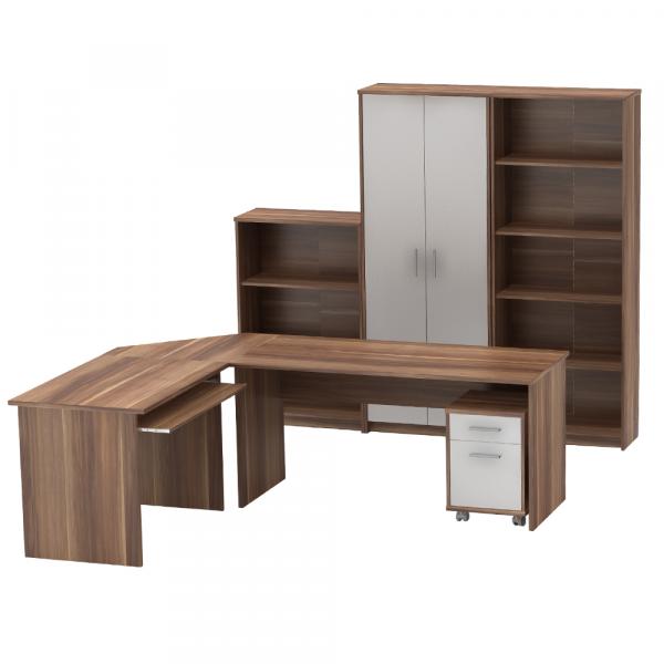 Ansamblu mobilier de birou JOHAN 2 NEW Prun / Alb 0