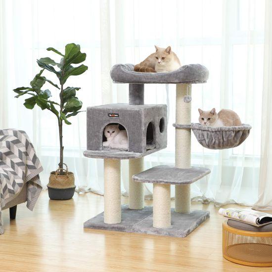 Ansamblu de joaca cu pat si pestera pentru pisici PCT01W 2