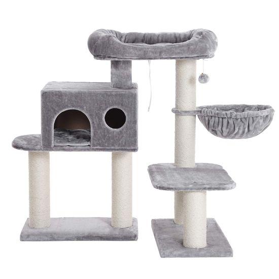 Ansamblu de joaca cu pat si pestera pentru pisici PCT01W 5