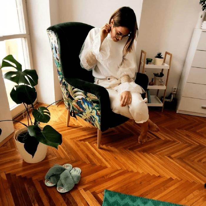 Fotoliu lemn tapitat pattern BELEK 2