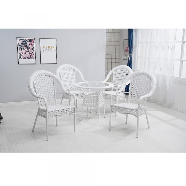Set de gradina masa 4 scaune alb KOVEN [1]