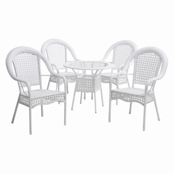 Set de gradina masa 4 scaune alb KOVEN [0]