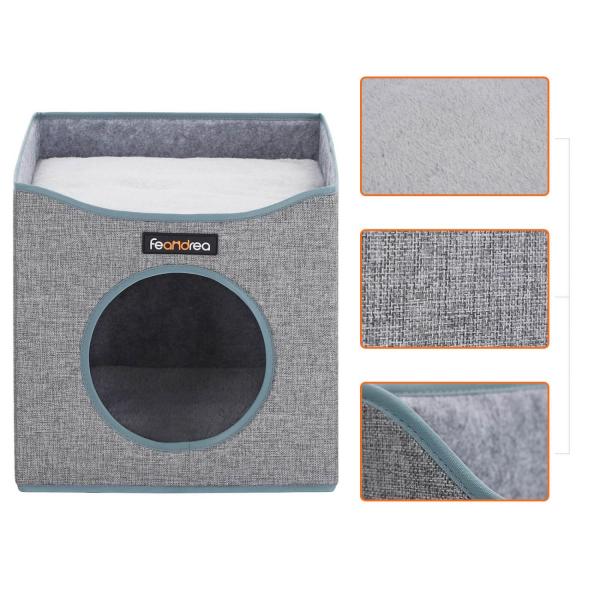Casă pătrată de pisică cu pat PCB03G 1