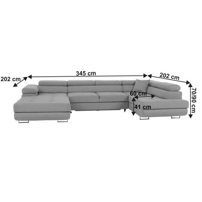Colţar 3 laturi extensibil AMARETO U 45