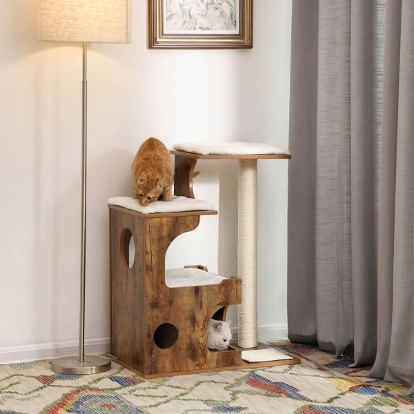 Ansamblu de joaca retro pentru pisici cu pat si pestera PCT70HW 2