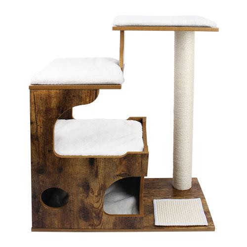 Ansamblu de joaca retro pentru pisici cu pat si pestera PCT70HW 0