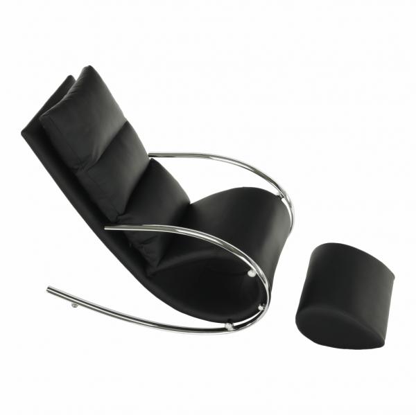 Fotoliu  balansoar piele eco neagra cadru metal ROGER 5