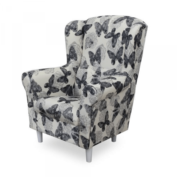 Fotoliu cu taburet tapiterie textil vintage patchwork ASTRID 2