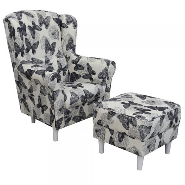 Fotoliu cu taburet tapiterie textil vintage patchwork ASTRID 0