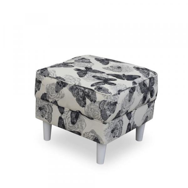 Fotoliu cu taburet tapiterie textil vintage patchwork ASTRID 3