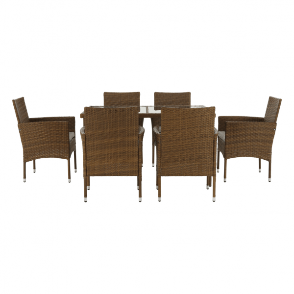 Set de gradina masa 6 scaune rattan miere/crem GARDEN 3