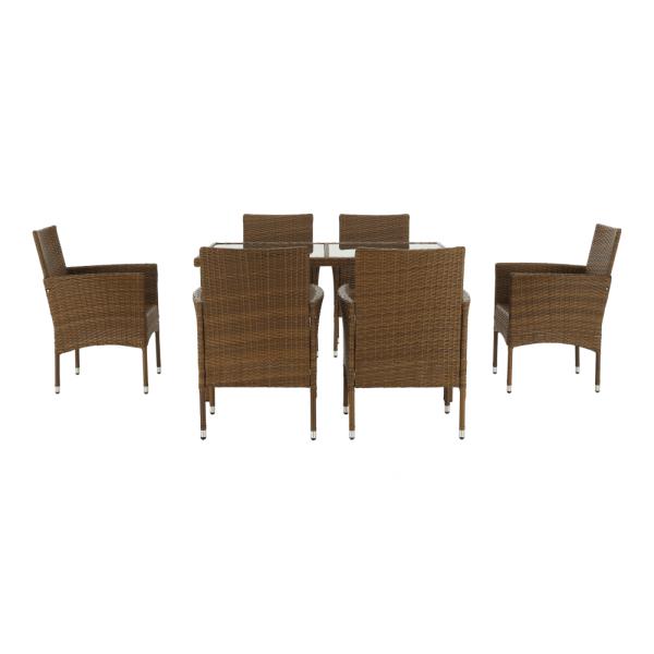Set de gradina masa 6 scaune rattan miere/crem GARDEN 5