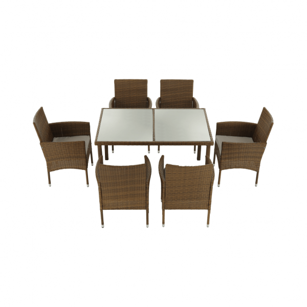 Set de gradina masa 6 scaune rattan miere/crem GARDEN 6