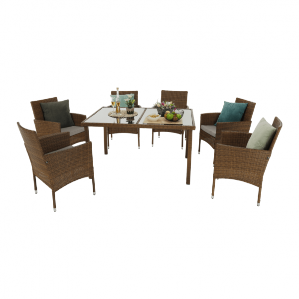 Set de gradina masa 6 scaune rattan miere/crem GARDEN 2