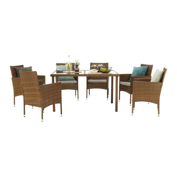 Set de gradina masa 6 scaune rattan miere/crem GARDEN 0