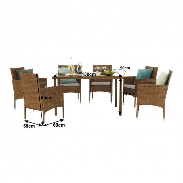 Set de gradina masa 6 scaune rattan miere/crem GARDEN 1