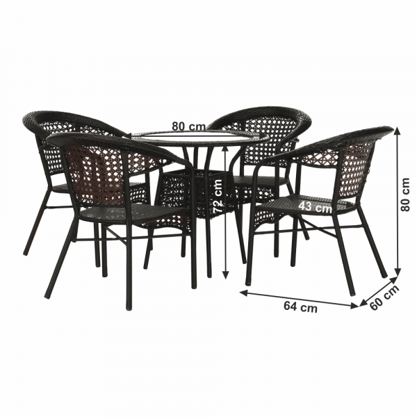 Set de gradina masa 4 scaune maro GETON 1