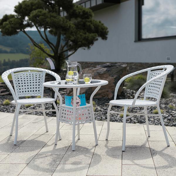 Set tehno-rattan de gradina masa 2 scaune alb JENAR 7