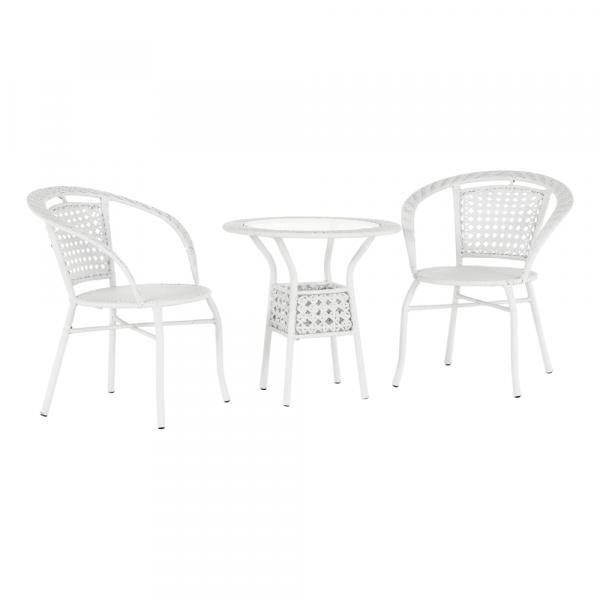 Set tehno-rattan de gradina masa 2 scaune alb JENAR 0