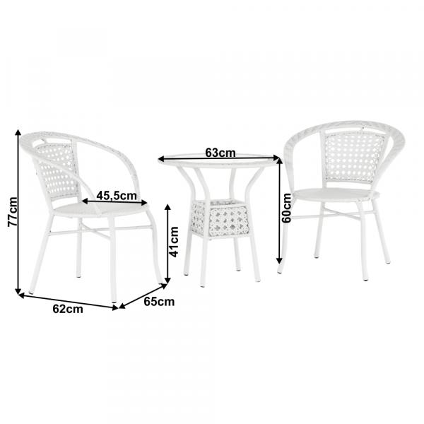 Set tehno-rattan de gradina masa 2 scaune alb JENAR 1