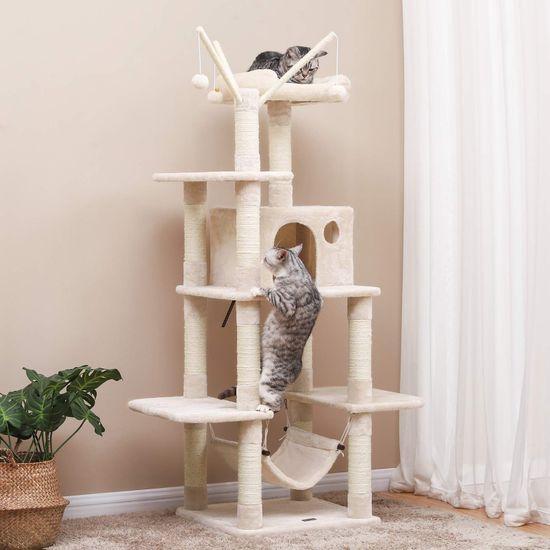 Ansamblu de joaca cu pat si hamac pentru pentru pisici PCT86M 2