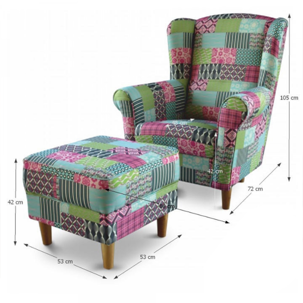 Fotoliu cu taburet tapiterie textil patchwork ASTRID 1