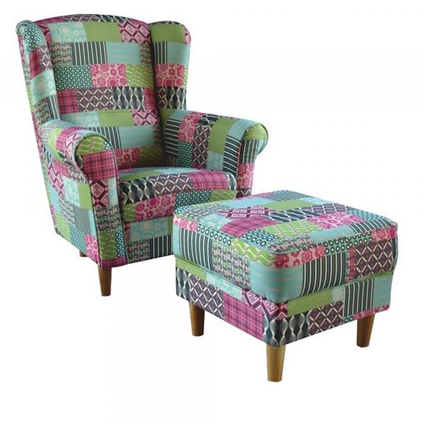 Fotoliu cu taburet tapiterie textil patchwork ASTRID 0