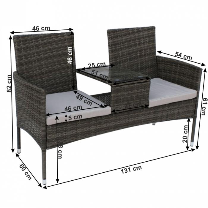 Canapea tehnorattan 2 locuri cu masuta LALIT [1]