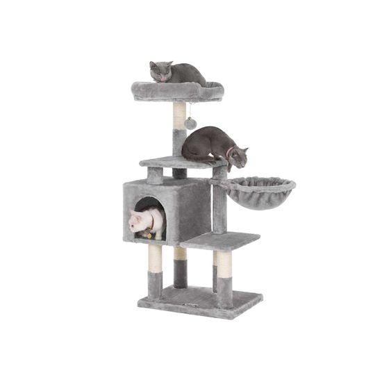 Ansamblu de joaca pentru pisici cu hamac si pestera PCT52W 1