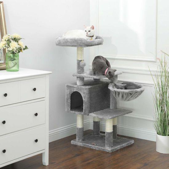 Ansamblu de joaca pentru pisici cu hamac si pestera PCT52W 2