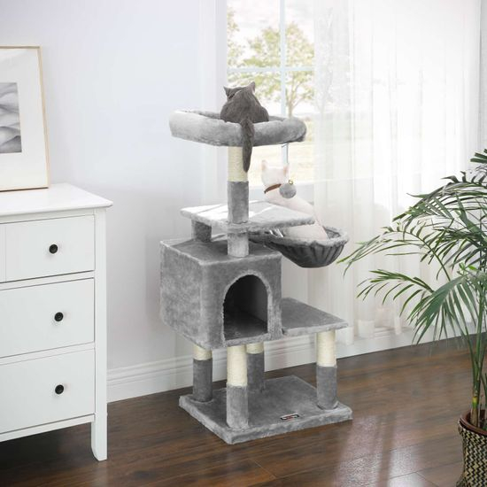 Ansamblu de joaca pentru pisici cu hamac si pestera PCT52W 3