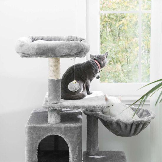 Ansamblu de joaca pentru pisici cu hamac si pestera PCT52W 4