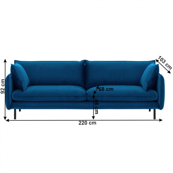 Canapea de lux cu 3 locuri albastru parizian VINSON 3 3