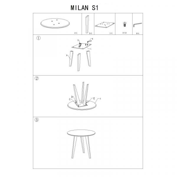 Masa cafea SL Milan S1 alb - stejar 1