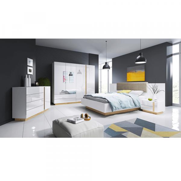 Set dormitor complet culoare alb/stejar CITY 0