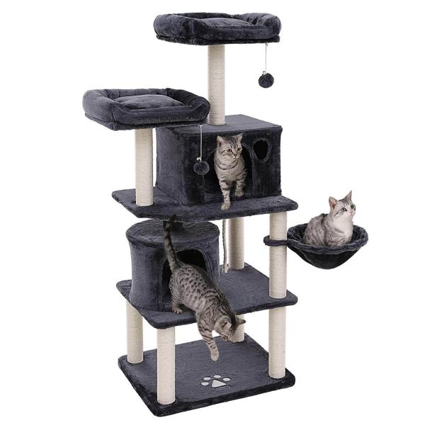Ansamblu de joaca cu doua paturi si doua case pentru pisici PCT90G 0
