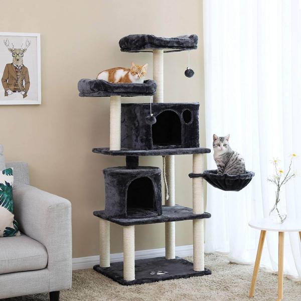 Ansamblu de joaca cu doua paturi si doua case pentru pisici PCT90G 1
